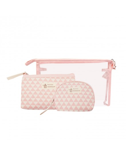Pouch Set - Pink Geometric