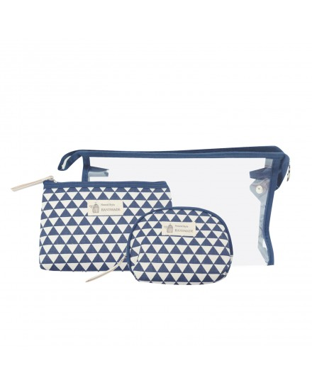 Beauty Pouch Set - Navy Geometric